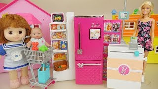 Baby doll and super market Barbie mart toys play