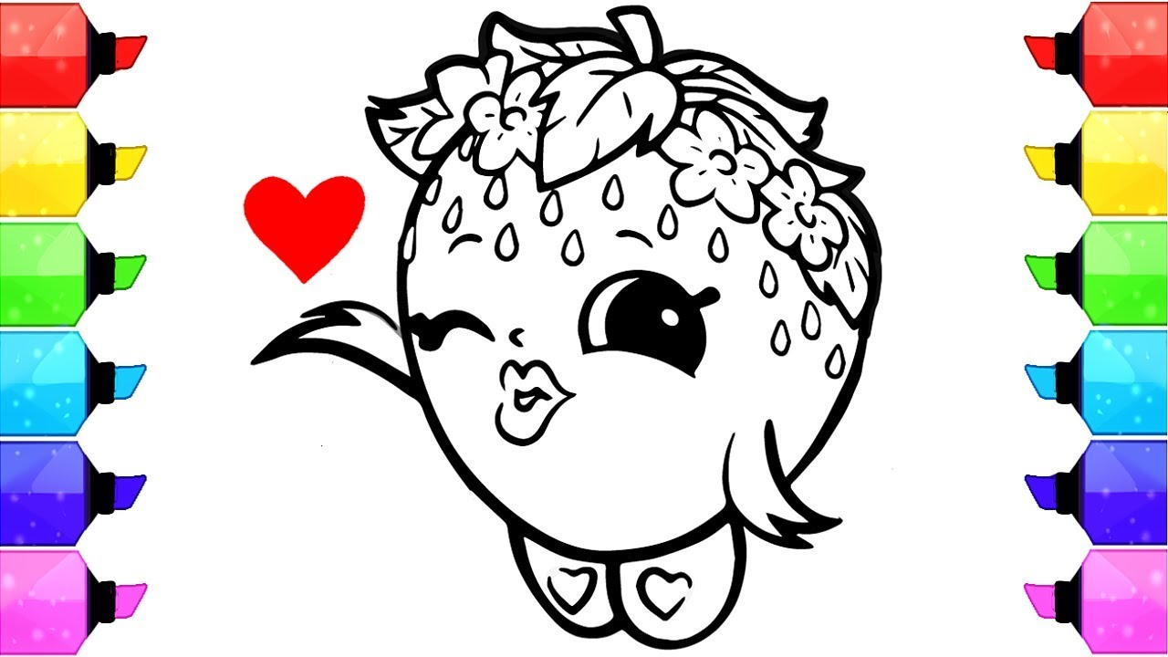 shopkins strawberry kiss coloring pages  how to draw and