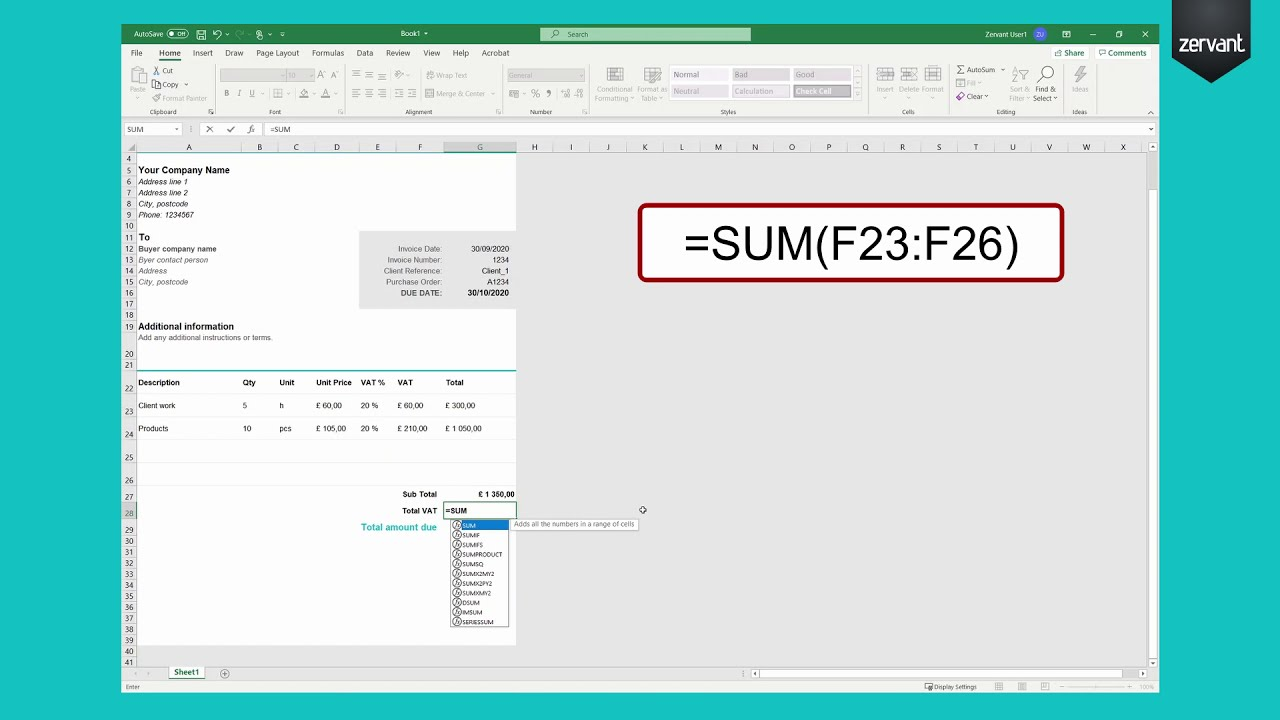 How To Create An Invoice Template In Excel From Scratch Easy Guide Professional And Attractive Youtube