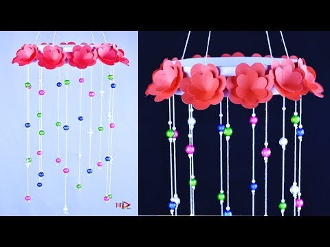 DIY Jhumar With Beautiful Paper Roses | Crystal Chandelier | Beaded Wind Chimes