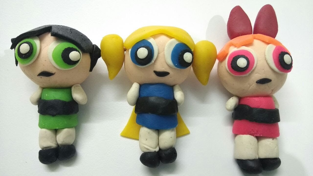 powerpuff girls 3d clay molding for kids playdoh clay modelling of