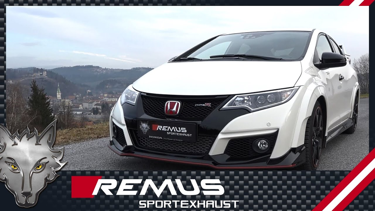 honda civic type r with remus resonated cat back exhaust system