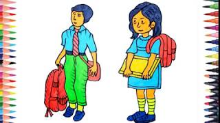 How to draw | Draw School Boy and Girls | Learning Coloring Pages for children with Colored Markers