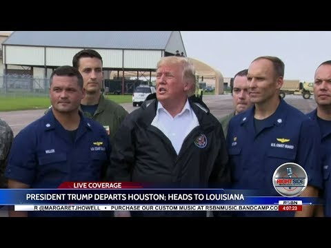 President Trump Greets Servicemembers Before Leaving Houston 9/2/17