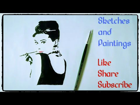 How to draw Audrey Hepburn celebrity Painting wall art tutorial simple easy step by step for kids.