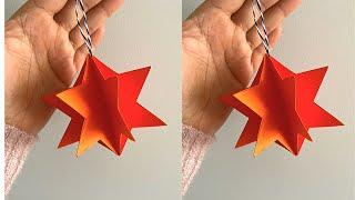 DIY PAPER STAR ORNAMENT | Christmas Tree Decoration Ideas | Handmade Paper Craft