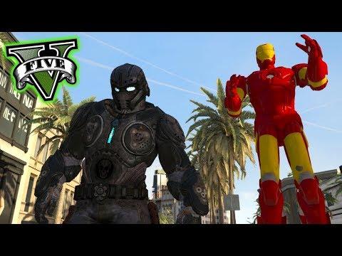LAS ESTATUAS GIGANTES !! (Ironman, Optimus, T Rex) - GTA V Mods