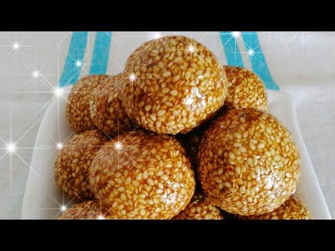 Til Gud Laddu / Sesame Brittle Recipe / Sesame Jaggery Sweet Balls - By Food Connection