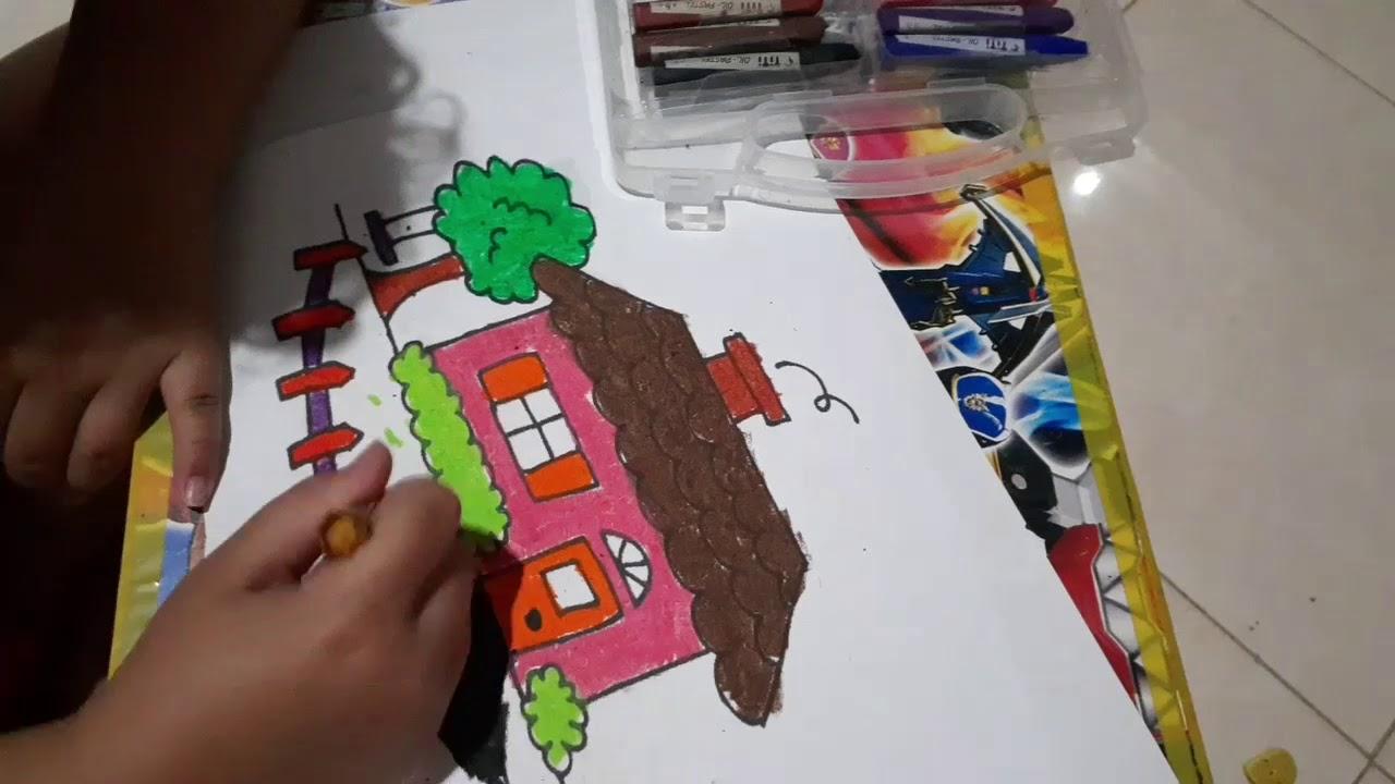 mewarnai gambar rumah untuk anak tk