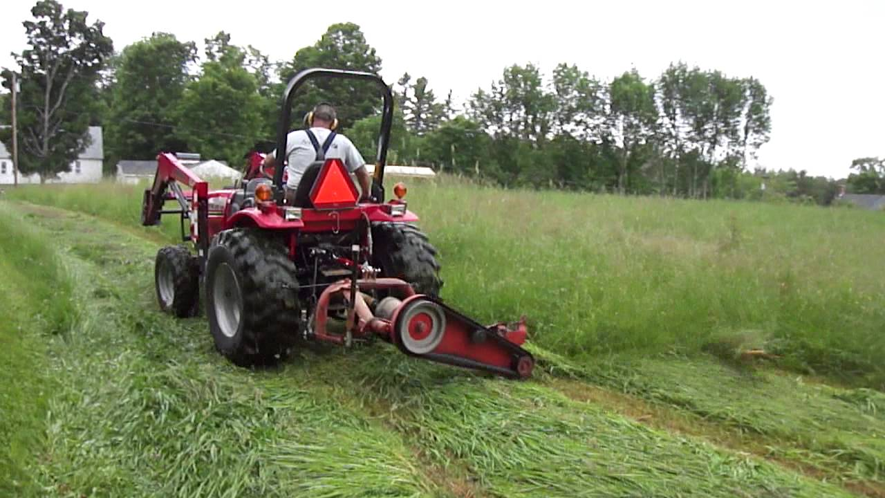 Mahindra Tractor Mowing 1st Cut Hay 2013 Youtube