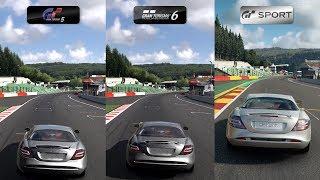 GT5 vs GT6 vs GT Sport - 2009 Mercedes-Benz SLR McLaren at Circuit de Spa-Francorchamps Comparison