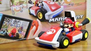 部屋がサーキットに大変身!Nintendo Switch マリオカート ライブ ホームサーキット ゲームとリアルのカートが連動!キノコを取るとスピードアップ!ドリフトもできる☆部屋の中で競争だ!