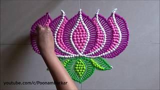 Lotus rangoli design with dots   Easy rangoli designs by Poonam Borkar