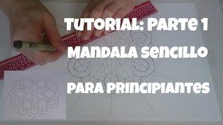 Como dibujar mandala sencillo para principiantes/How to draw mandala for beginners. Parte 1.