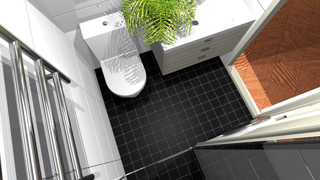 Small bathroom design, povray 3D animation - YouTube
