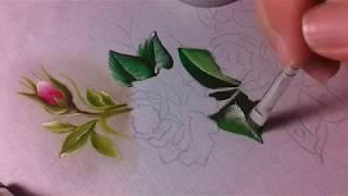 Mini rosinha e botão – Pintura em tecido – Parte 1