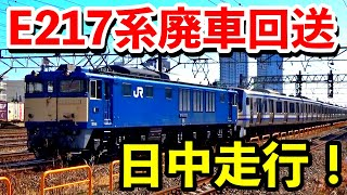 E217系廃車回送 まさかの日中走行で走る!