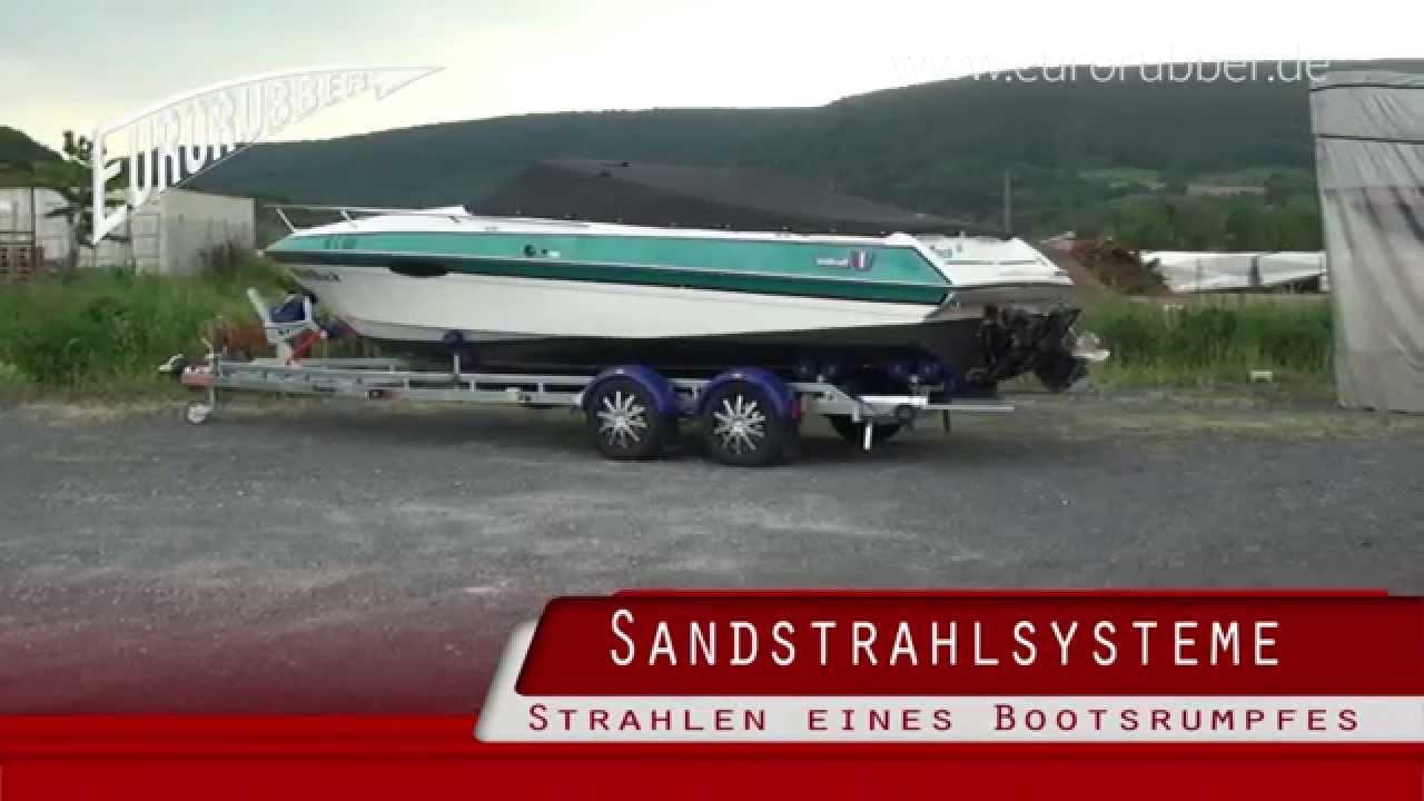Top Sandstrahlen eines Bootsrumpf GFK mit dem Eurorubber Strahlsystem HN63
