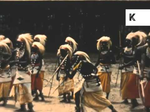 1950s Watussi Dancers, Kenya, Africa, Tribal Dancing, Colour Archive Footage