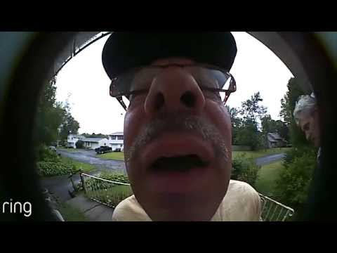 Neighbor experiences Ring video doorbell for first time.