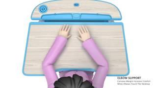 "Reo-Smart ""Bobbie"" Children Adjustable Desk & Chair features animation"