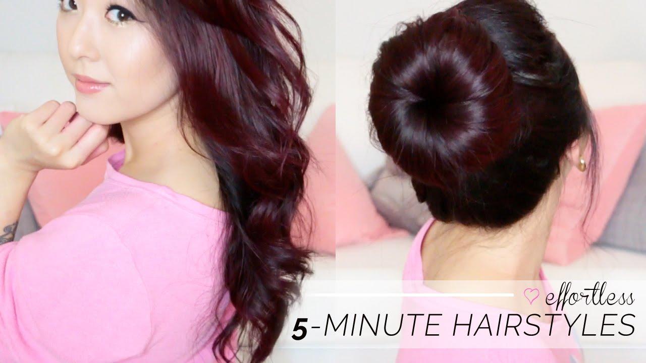 TUTORIAL Effortless 5 Minute Hair Styles Soft Curls Big Bun