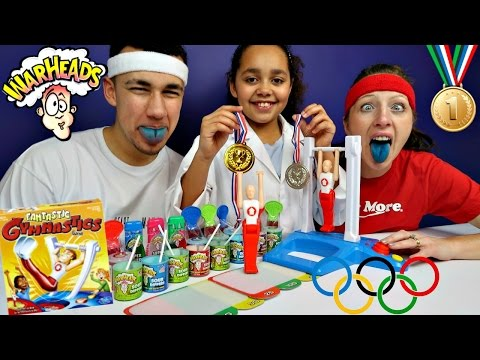 Thumbnail: FANTASTIC GYMNASTICS CHALLENGE! Extreme Sour Warheads Candy - Toys AndMe Family Funny Video