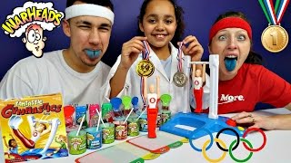 fantastic gymnastics challenge extreme sour warheads candy toys andme family funny video