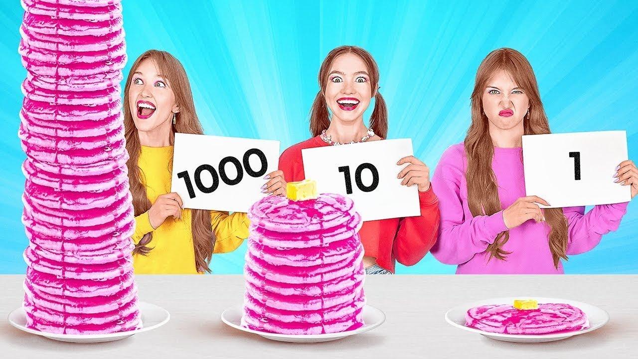 RETO DE LAS 1 000 CAPAS DE COMIDA    Comida gigante vs. diminuta por 24 horas por 123 GO! FOOD