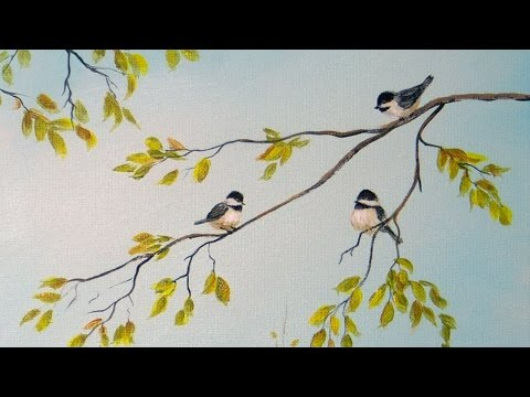 Part 2: Painting Birch Trees - 'Feathered Friends' - Acrylic Demonstration
