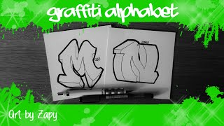 GRAFFITI ALPHABET for beginners   How to draw letters (M & N) | Art by Zapy