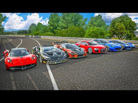 Forza 7 Drag Race | Mclaren Senna vs Centenario vs Huayra vs Ford GT vs Audi R8 vs Ferrari F12 TDF!!