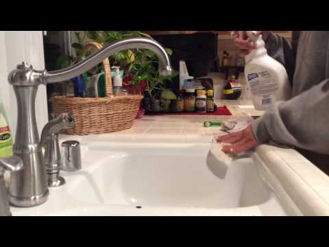 ASMR Cleaning Kitchen And Scrubbing Wiping Tile Counter Tops (no Tapping No Talking)