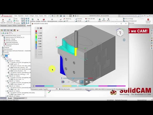 SolidCAM 2020 – Simulator Feststehendes Werkzeug