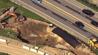 Giant sinkhole opens along Route 30