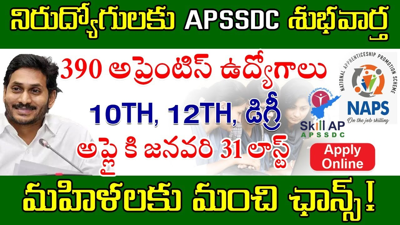 APSSDC Latest Job Notification 2021 | 390 posts | Jobs for 10th and 12th Pass
