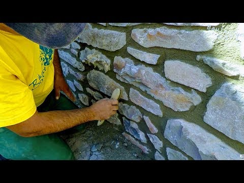 HOW TO BULD NATURAL STONE WALL, RETAINING ROCK BOULDERS DETA