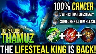 Insane Lifesteal! | Thamuz Best Build & Gameplay | Top 3 Global Thamuz | Mobile Legends