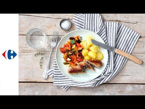 saucisse-de-campagne,-ratatouille-et-pommes-de-terre