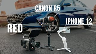 iPhone 12 vs Canon R5 vs RED // Hyundai Elantra Shoot-Out