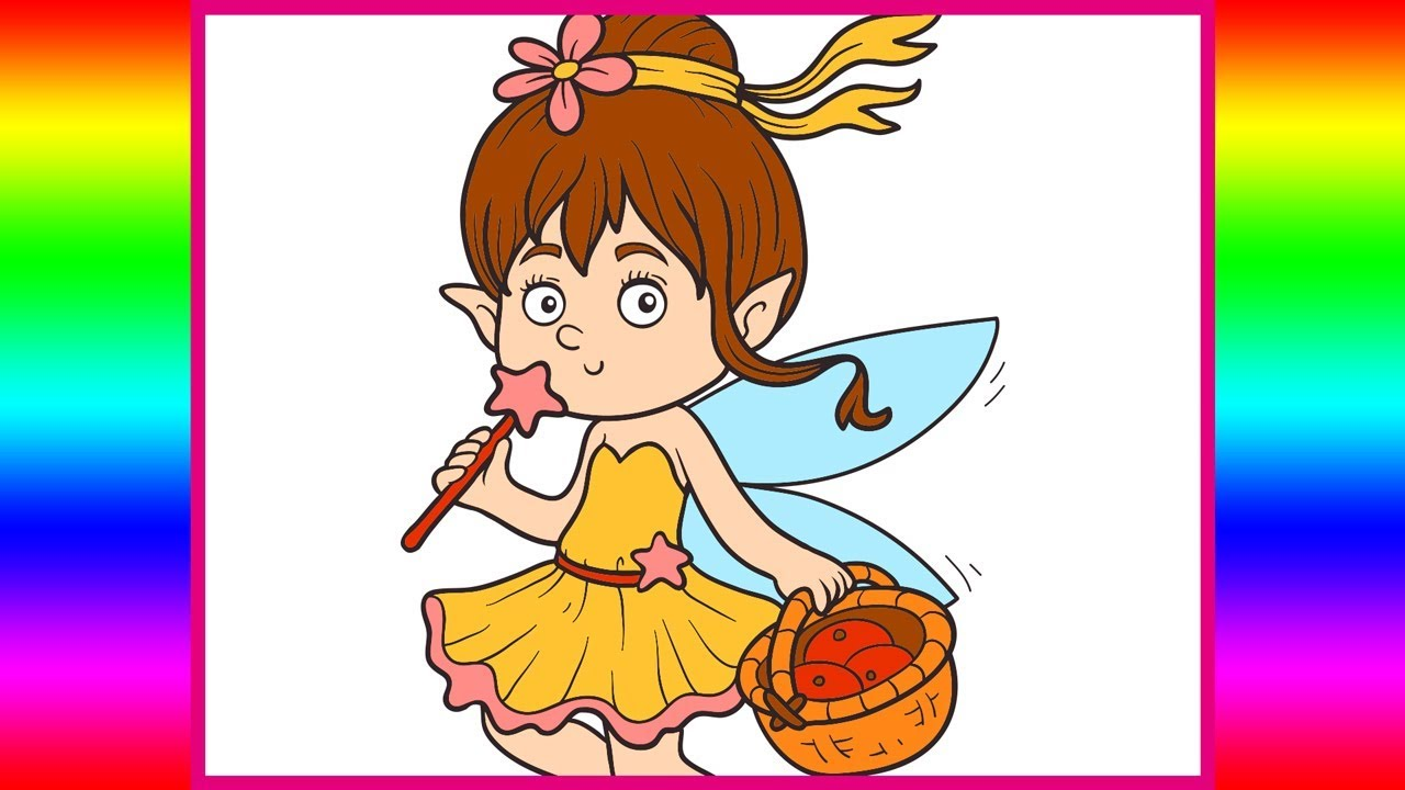 Little Fairy Coloring Page - Cute Princess Angel Girl Fairy Coloring ...