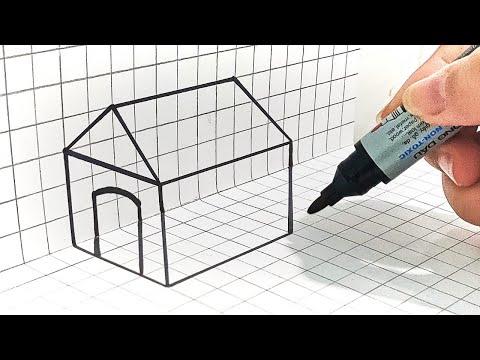 Cách Vẽ Ngôi Nhà 3D Gấp Giấy Vuông Góc | Baby Yêu