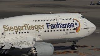 """Lufthansa """"Fanhansa Siegerflieger"""" Boeing 747-8 D-ABYI Pushback [HND/RJTT]"""