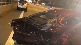 17jun2018 Jaguar Xj Lose Control Hit Toyota Liteace & Crashed At Keppel Viaduct Mce Towards Aye