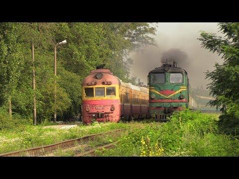 Смотреть Две классики - дизель-поезд Д1 и тепловоз 2ТЭ10Л / Two classics - D1 DMU and 2TE10L онлайн