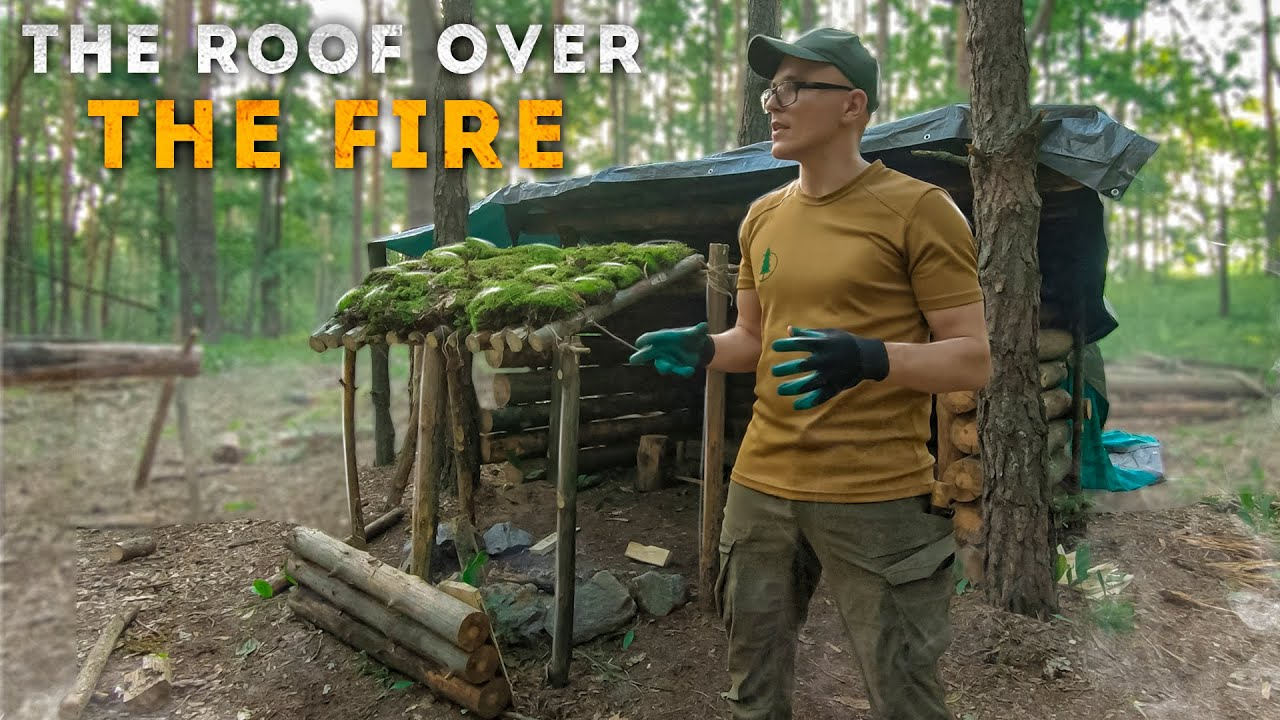 Bushcraft shelter, Roof over the fire, shelter building in the woods