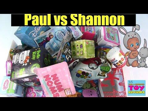 Paul vs Shannon Blind Bag Challenge | Squinkies Shopkins Disney Opening | PSToyReviews