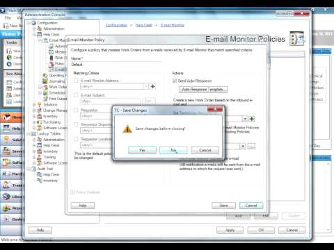 Configuring the Email Monitor in Numara Track-It!