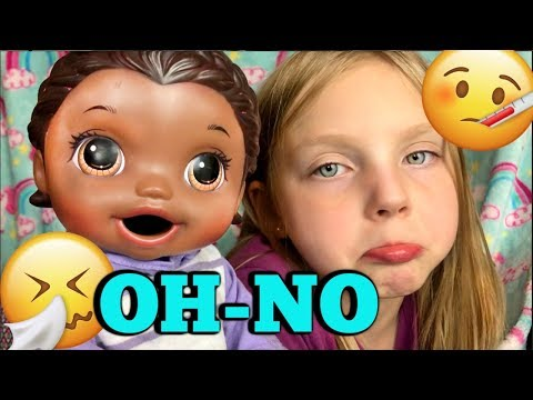 BABY ALIVE gets a COLD....and a BABYSITTER! The Lilly and Mommy Show. The TOYTASTIC Sisters.