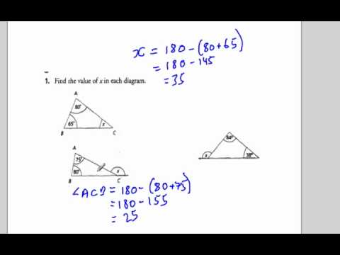 Interior and Exterior angles of a triangle : Sum of